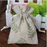 Confezione regalo di gioielli in lino con foglie di ulivo 9x12cm 10x15cm confezione da 13x17 cm di 50 buste per bomboniere