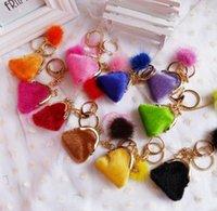 Délicat petit sac porte-clés lapin boule de fourrure peluche porte-clés de voiture porte-clés sac pendentif