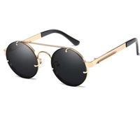 빈티지 Steampunk 선글라스 남자 라운드 선글라스 고글 여성 브랜드 디자인 금속 프레임 트윈 빔 안경 거울 음영 UV400 Y207