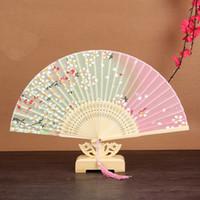 일본 벚꽃 접는 팬 여름 실크 접는 손 팬 결혼식 호의 대나무 접는 팬 DHL 무료 배송