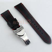 Corgeut 22mm Noir Bracelets de Montre En Cuir Véritable Bracelet De Montre Bracelet 190mm Bracelets de Montre Pour Hommes Bandes De Remplacement Avec Boucle P589