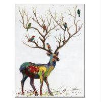 Обрамленная Pure Handpainted Современный Abctract Animal Art Картина Маслом Олень, на Высоком Качестве Холст Для Домашнего Декора Стен Несколько размеров