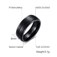 Vnox 8mm Black Men Ring 100% Titanium Carbide Men' s Jew...