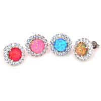 Großhandelskleinart- und weisefeinfein-Feuer-Opal-Ohrringe 925 Splitter-Schmuck für Frauen EF17083101