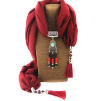 Sciarpe della collana dei monili della sciarpa del pendente del fiore della lega della sciarpa del fiore della nappa lunga dell'annata per nuovo design delle donne