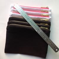 bolsa de cosméticos de lienzo de algodón blanco / negro / rosa claro con forro dorado y cremallera dorada bolsa de maquillaje personalizada bolsa de aseo personalizable en blanco