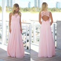 2018 Blush Pink Lace Chiffon Beach Vestidos de dama de honra Long Sleeveless Pregnant Jewel Open Back Country Maxi vestido de dama de honra Under70