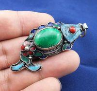 Superb Çin Eski İşi Koleksiyon Tibet Gümüş Yeşim Balık Kolye