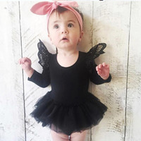Pagliaccetti del bambino TUTU Dress Ins Lace Flying Sleeve O-collo Tute neonato Tute Baby Girls Set 9M-4T