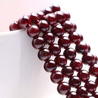 Granados rojos naturales Redondos Perlas de piedra sueltas 6mm-10mm Joyería de ajuste DIY Collares o pulseras Envío gratis