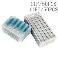 Tätowierungs-Nadeln 11F + 11FT mit Tätowierungs-Rohren mischten sterile Tätowierungs-Nadeln und Wegwerfspitzen jede Größe 50pcs für freies Verschiffen