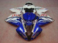 Впрыска кузова обтекатель комплект для Yamaha YZF R1 09 10 11 12 13 14 белый синий обтекатели набор YZFR1 2009-2014 OR11