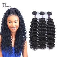 Derun Hair Super Sale !!! Смесь 3 шт. 10-30 дюймов Бразильская Глубокая Волна Человеческие Волосы Утки Утки Натуральный Цвет Волос Фуаев Бесплатная Доставка
