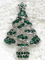 도매 패션 브로치 라인 석 작은 크리스마스 트리 핀 브로치 크리스마스 선물 C101442