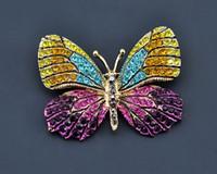 Increíble esmalte lindo broche de mariposa estilo vintage cristales multicolores mujeres joyería broche señora bufanda pin ropa accesorios pin para fiesta