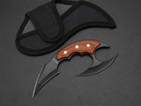 """Fury 7 """"Karambit Blade fisso coltello doppia lama 440C manico in legno tattico campeggio escursionismo caccia di sopravvivenza tasca tasca per la raccolta EDC"""