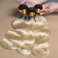 Brazilian Dark Roots Blonde human Hair wefts Body Wave 3pcs ...