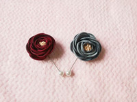 New fashion men and women brooch rose flower lapel pin 5cm suit boutonniere fabric yarn pin 3 colors button Stick brooches for wedding