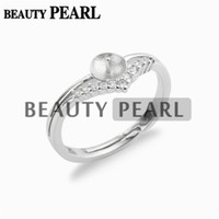 5 Pieces Pearl Ring Blanks Clear Cubic Zirconia 925 Sterling...