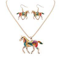 Mode Regenbogen Pferd Anhänger Halsketten Baumeln Ohrringe Sets Goldsilver Email Tier Charme Popcorn Kette Für Frauen Mädchen Schmuck Geschenk