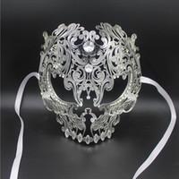 Großhandels-Schwarzes Vollgesichtsschädel-Mann-Frauen-Metalllaser-geschnittene silberne Maskerade-Partei maskiert Goldrot-Ball-Rhinestone-Abschlussball-venetianische Maske