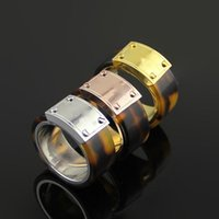 316L Stainless Steel band Rings With Leopard Print in Real G...