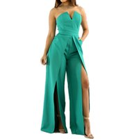 Wholesale- Fashion Sexy Off Shoulder Strapless Jumpsuit Summer Style Ladies Work Office Long Pants Fashion Back Zipper High-split Rompers