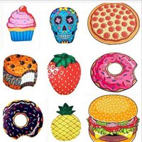 19 Designs Snacks Fruits Round Beach Towel Yoga Mat Shower T...
