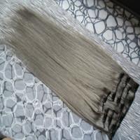 серый наращивание волос клип в человеческих волос 100 г 7 шт. / лот прямые серые человеческие волосы расширения