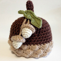 Free Shipping Acorn Baby Beanie Hat, Pure Handmade Knit Croch...