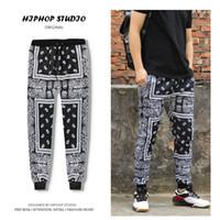 Vente en gros - Pantalon Paisley Harem Drop De Harem Baggy Pantalon Hop Qualité Hip Hop Hop for Hommes Pantalon Pantalons Homme Boys Black