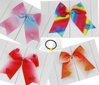 6inch jojo ombre rainbow Ribbon Cheer Bow With Elastic Band ...