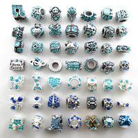 Adatto braccialetti all'ingrosso perline argento placcato cristallo di fascini perline grandi foro sciolto per braccialetti europei fai da te