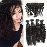 Brazilian Virgin Hair Bundles with Closure Natural Color Dee...