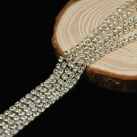 10 metri strass catena della tazza cristallo Chiudi argento placcato strass catena assetta Coppa catena Wedding Cake Decoration SS6.5-SS12