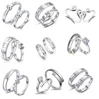 9 Pairs Style Silver Diamond Lovers Adjustable Ring Couple R...