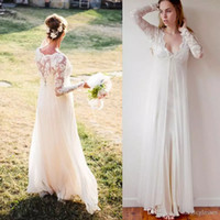 2017 Bohemian Wedding Dresses Long Sleeves Chiffon Lace V-neck Floor Length Empire Maternity Bridal Gowns Garden Simple Dress For Brides