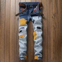 Мужские джинсы тонкий джинсовые брюки прямой бренд джинсы лоскутное молния отверстие дизайнер джинсы брюки для мужчин 55055