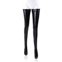 BDSM Female Restraints Abbigliamento per sesso Bondage in PVC Calze per donne per adulti Giochi di gioco