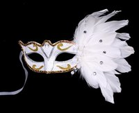 Venetian Half face flower mask Masquerade Party on stick Mas...
