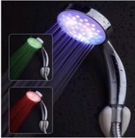 욕실 LED 샤워 헤드 RGB 자동 색상 어둠 속에서 빛을 밝게 빛나는 배터리 핸드 물 강우 흐름 전원 액세서리