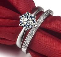Anello da sposa in stile classico ForeverBeauty 1CT con diamanti taglio rotondo, con set di gioielli da sposa in argento massiccio 925