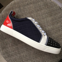New men women black spikes toe with colorblock leather red b...