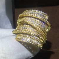 Luxus Großen ring Gelbgold Gefüllt Verlobung hochzeit band ringe für frauen T form 5A zirkon kristall 925 silber Bijoux Geschenk
