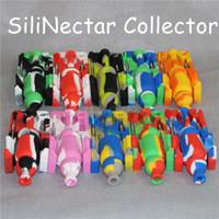Hot Silicone Nectar Collector Kits mit domeless 10mm männlich ti Nail Nector Collector Ölplattformen Glass stumpfen Bubbler Mini Silikon Bong DHL