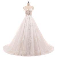 Vestido de Noiva Ballkleid Vintage Champagner Brautkleider Spitze Appliques Kristall Schärpen Robe de Mariage China Brautkleider