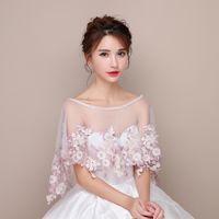 Fada Bridal Boleros Pearl Rosa Flores Macio Marfim Tule Acessórios Do Casamento Nupcial Envoltórios Grátis Frete Grátis