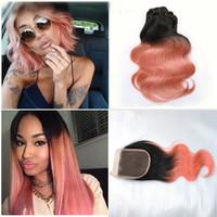 Nuovo arrivo radice scura oro rosa onda del corpo ombre capelli umani con chiusura trama 1B oro rosa capelli con chiusura 4x4 4 pz / lotto