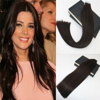 Doppelte Klebeband in menschlichen Haarverlängerungen # 2 dunkelste braune Haut schuss Remy Jungfrauband auf Haarverlängerungen Salon Professional PU Tape Ins