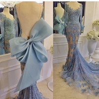 Vintage Blue Prom Gowns 2017 Scoop Neck Appliqued Beaded Pea...